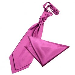 Mulberry Plain Satin Wedding Cravat & Pocket Square Set
