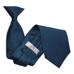 Navy Blue Plain Satin Clip On Tie