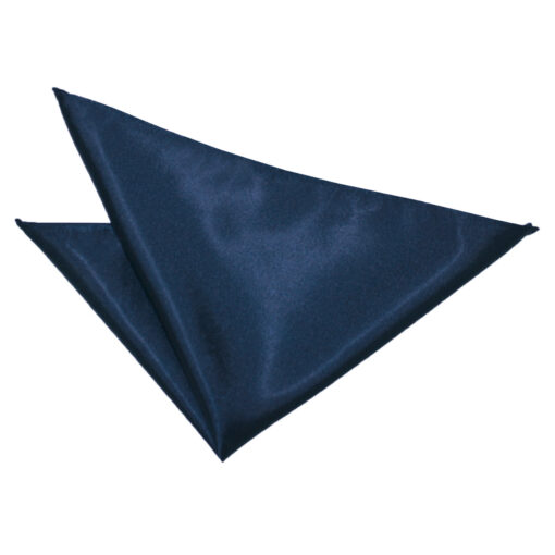 Navy Blue Plain Satin Pocket Square