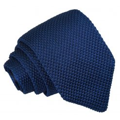 Navy Blue Knitted Slim Tie