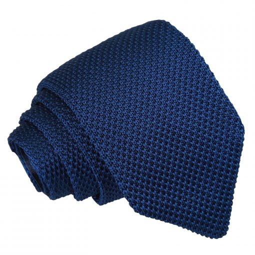 Navy Blue Knitted Slim Tie & Pocket Square Set