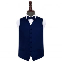 Navy Blue Plain Satin Wedding Waistcoat & Bow Tie Set