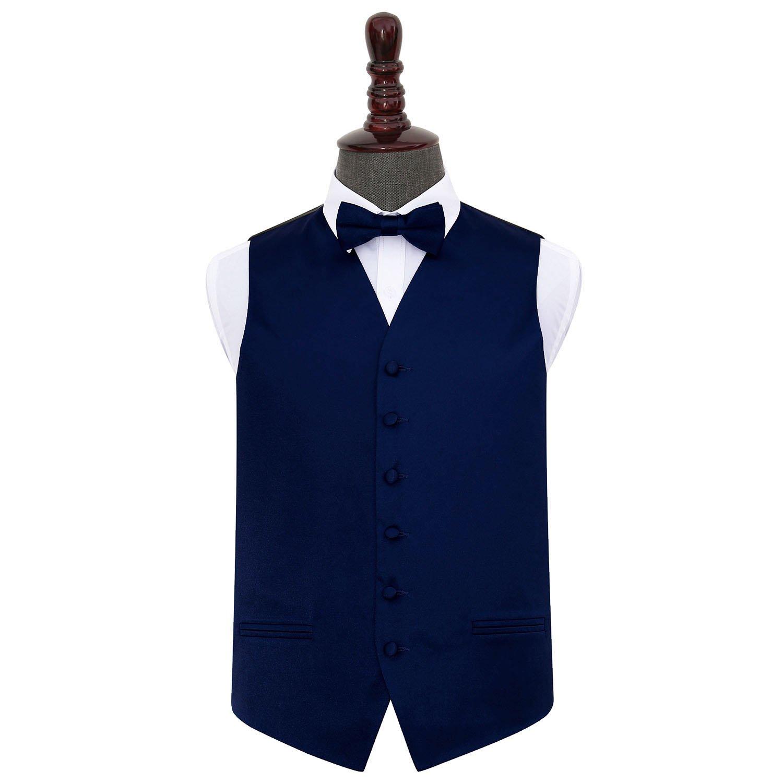 Men s Plain Navy Blue Satin Wedding Waistcoat   Bow Tie Set d24648aa6d86b