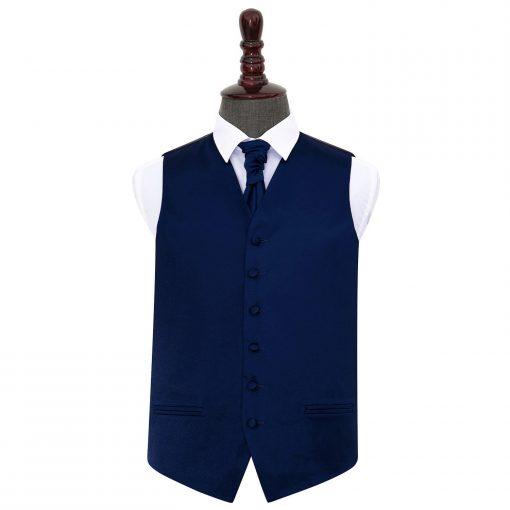 Navy Blue Plain Satin Wedding Waistcoat & Cravat Set