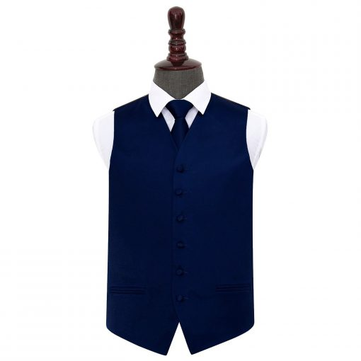 Navy Blue Plain Satin Wedding Waistcoat & Tie Set