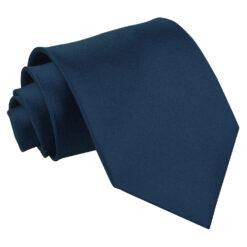 Navy Blue Plain Satin Classic Tie