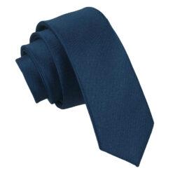 Navy Blue Plain Satin Skinny Tie