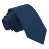 Navy Blue Plain Satin Slim Tie