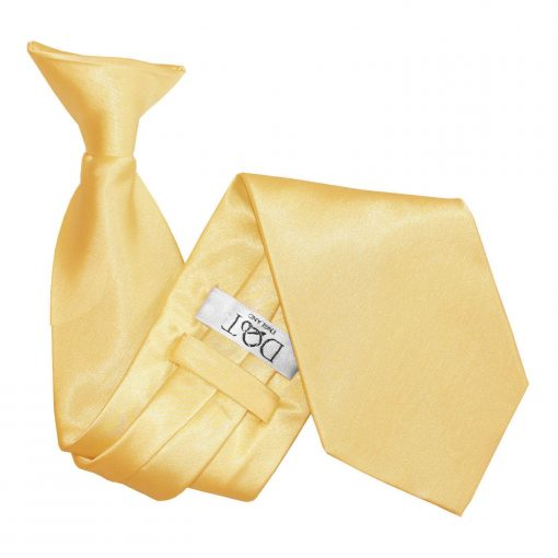 Pale Yellow Plain Satin Clip On Tie