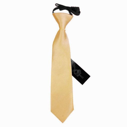 Pale Yellow Plain Satin Elasticated Tie for Boys