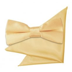 Pale Yellow Plain Satin Bow Tie & Pocket Square Set for Boys