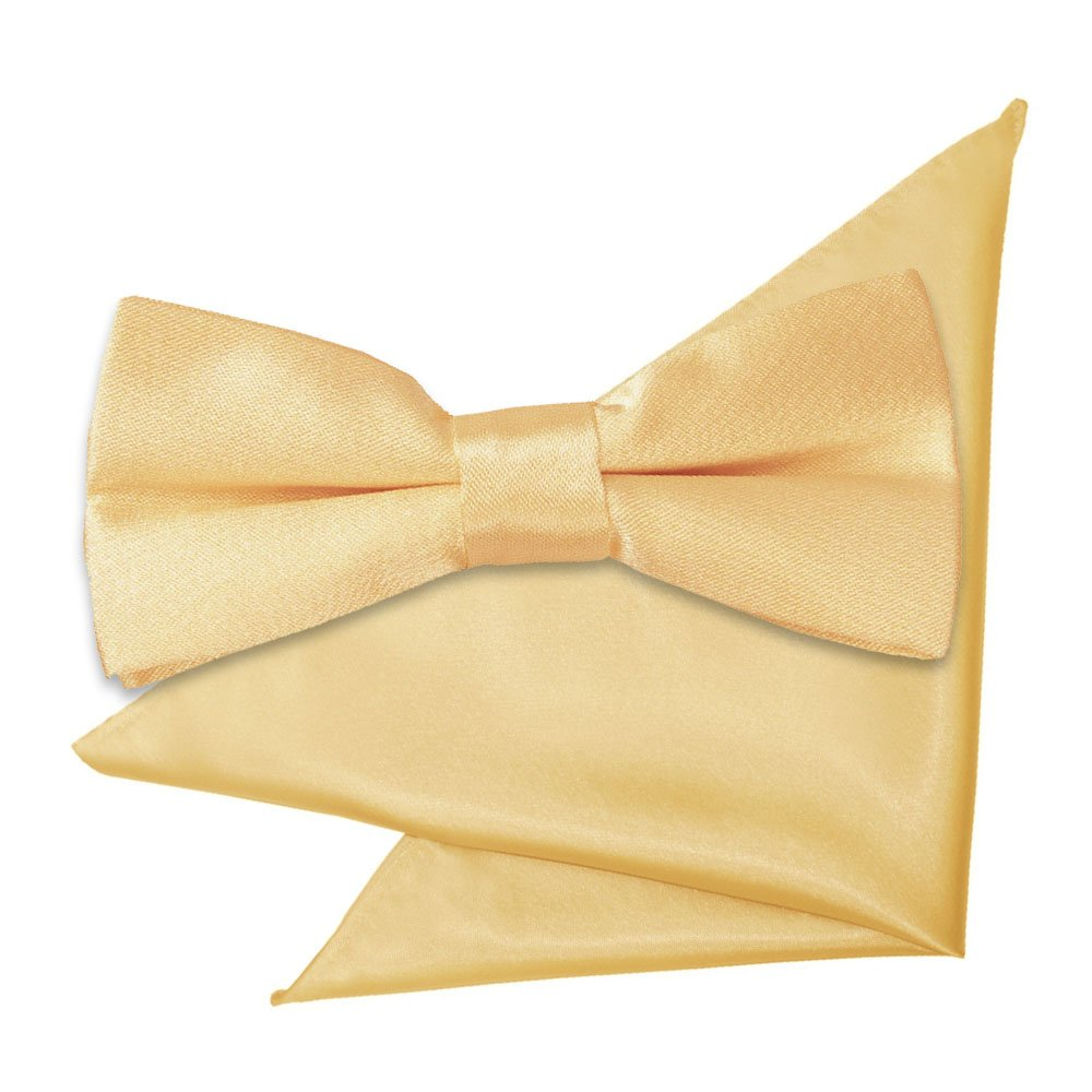 1cc881b485b5c Pale Yellow Plain Satin Bow Tie & Pocket Square Set for Boys