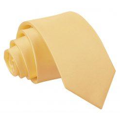 Pale Yellow Plain Satin Regular Tie for Boys