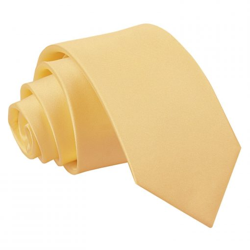 Pale Yellow Plain Satin Slim Tie