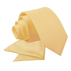 Pale Yellow Plain Satin Tie & Pocket Square Set for Boys