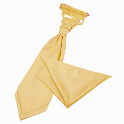 Pale Yellow Plain Satin Wedding Cravat & Pocket Square Set