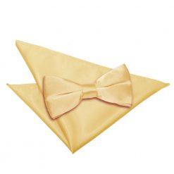 Pale Yellow Plain Satin Bow Tie & Pocket Square Set
