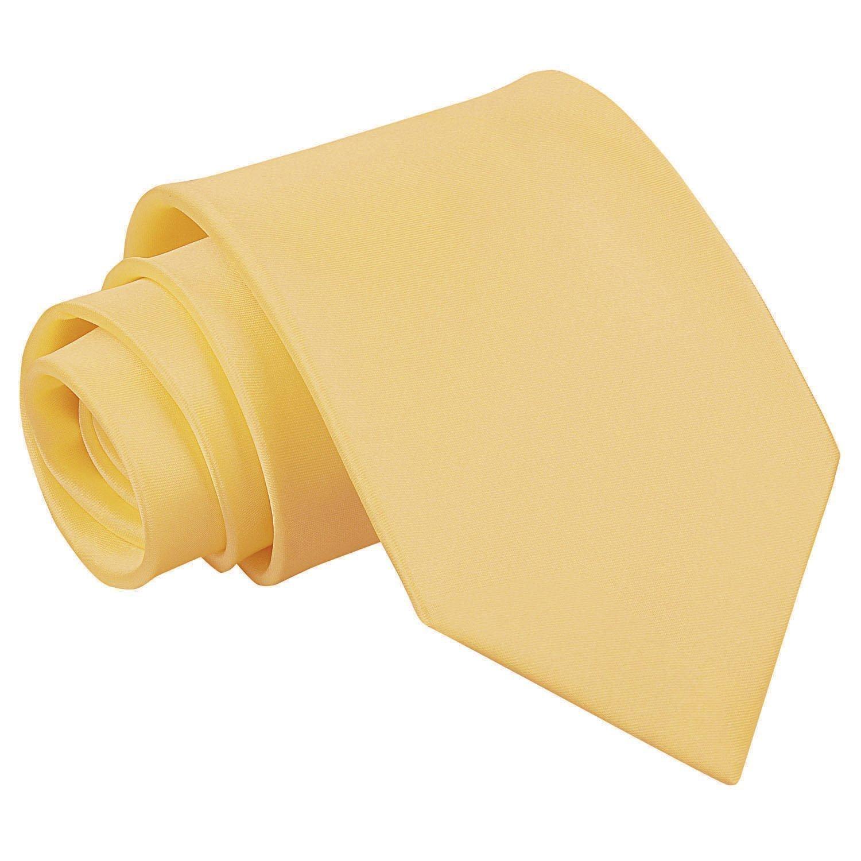 Men's Plain Pale Yellow Satin Tie