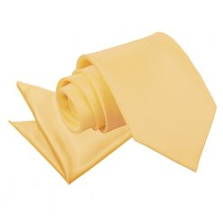 Pale Yellow Plain Satin Tie & Pocket Square Set