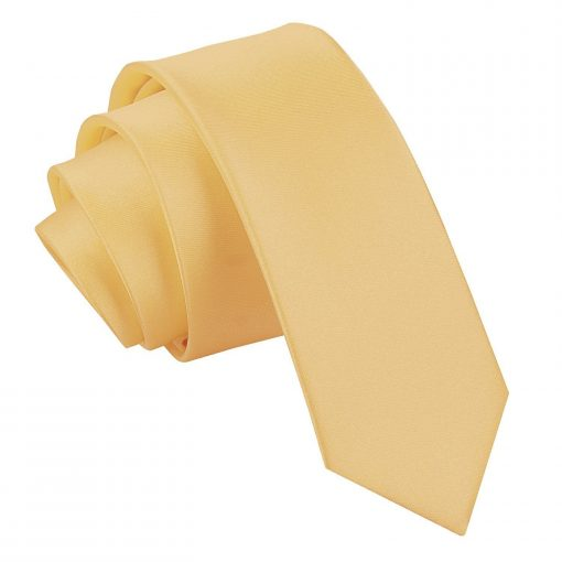 Pale Yellow Plain Satin Skinny Tie
