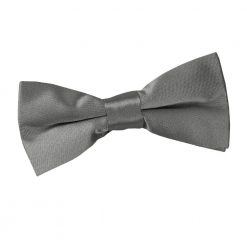 Platinum Plain Satin Pre-Tied Bow Tie for Boys