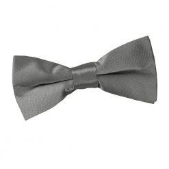Platinum Plain Satin Pre-Tied Bow Tie for Boys