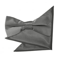 Platinum Plain Satin Bow Tie & Pocket Square Set for Boys