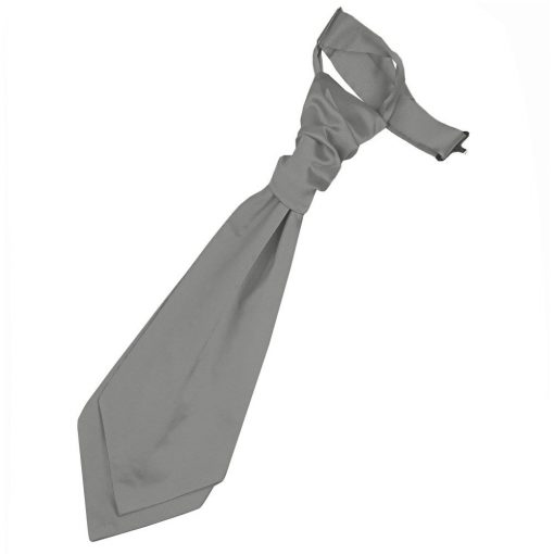 Platinum Plain Satin Pre-Tied Wedding Cravat for Boys