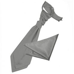 Platinum Plain Satin Wedding Cravat & Pocket Square Set for Boys