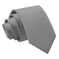 Platinum Plain Satin Regular Tie for Boys