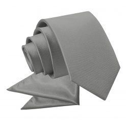 Platinum Plain Satin Tie & Pocket Square Set for Boys