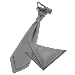 Platinum Plain Satin Wedding Cravat & Pocket Square Set