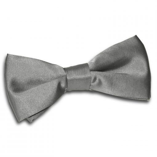 Platinum Plain Satin Pre-Tied Bow Tie