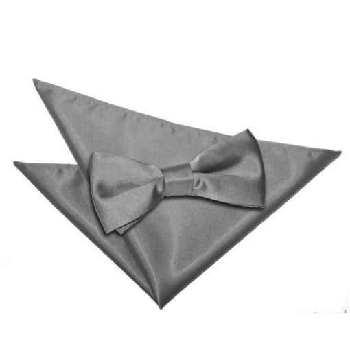 Platinum Plain Satin Bow Tie & Pocket Square Set