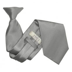 Platinum Plain Satin Clip On Tie