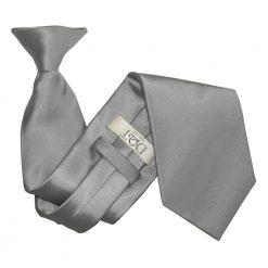 Platinum Plain Satin Clip On Tie