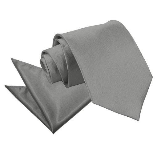 Platinum Plain Satin Tie & Pocket Square Set