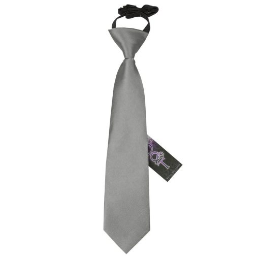 Platinum Plain Satin Elasticated Tie for Boys