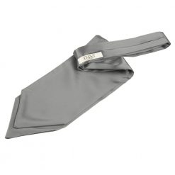 Platinum Plain Satin Self-Tie Wedding Cravat