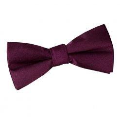 Plum Plain Satin Pre-Tied Bow Tie for Boys