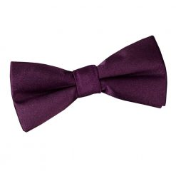 Plum Plain Satin Pre-Tied Bow Tie for Boys