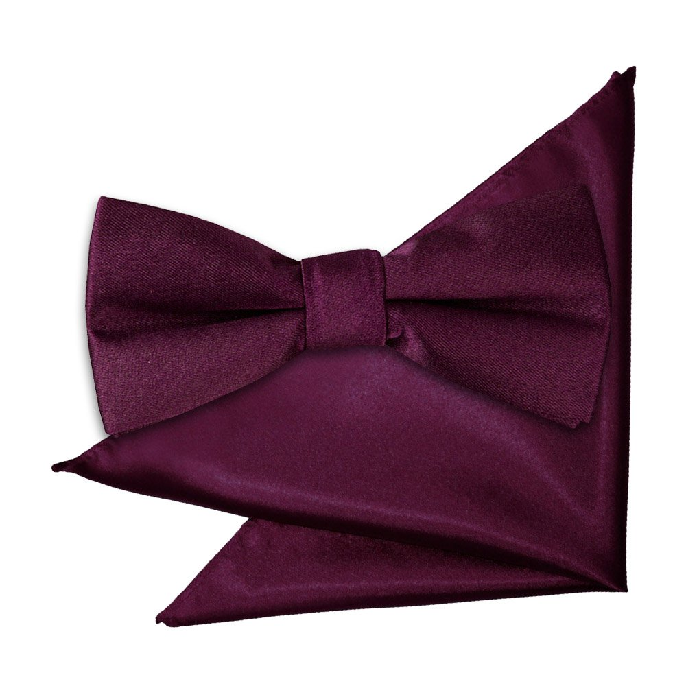 85ab5761e3451 Plum Plain Satin Bow Tie & Pocket Square Set for Boys