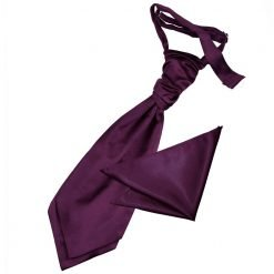 Plum Plain Satin Wedding Cravat & Pocket Square Set for Boys