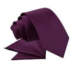 Plum Plain Satin Tie & Pocket Square Set for Boys