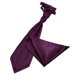 Plum Plain Satin Wedding Cravat & Pocket Square Set