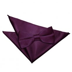 Plum Plain Satin Bow Tie & Pocket Square Set