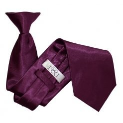 Plum Plain Satin Clip On Tie