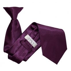 Plum Plain Satin Clip On Tie