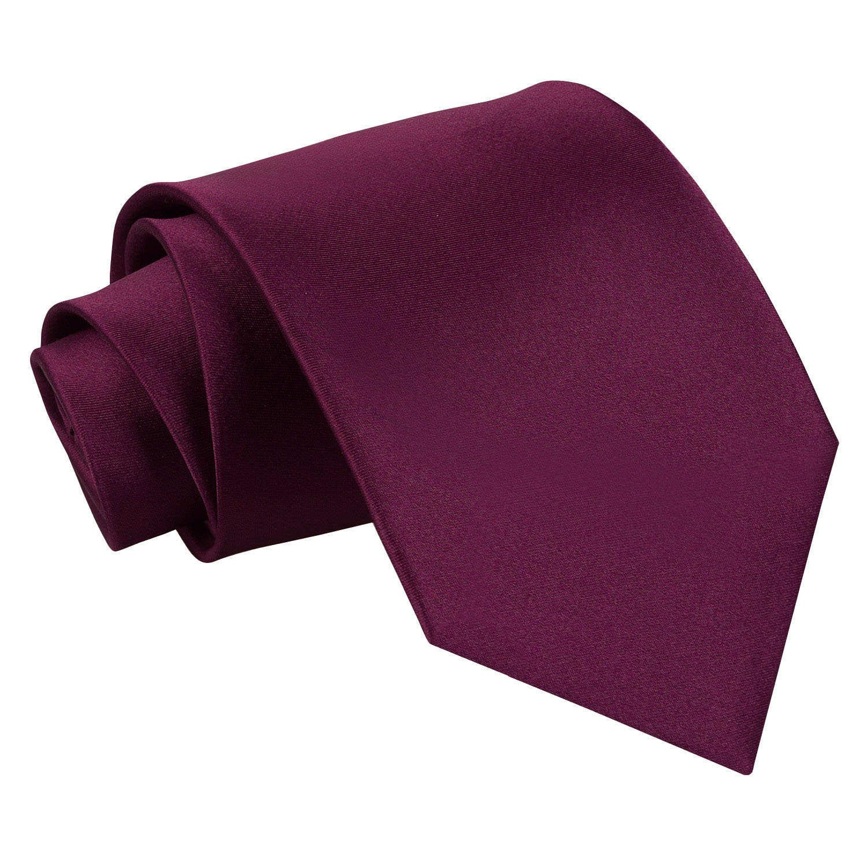 Men's Plain Plum Satin Tie