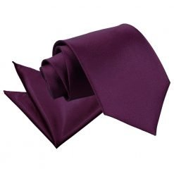 Plum Plain Satin Tie & Pocket Square Set